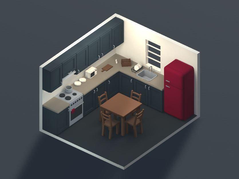 Low poly modular kitchen