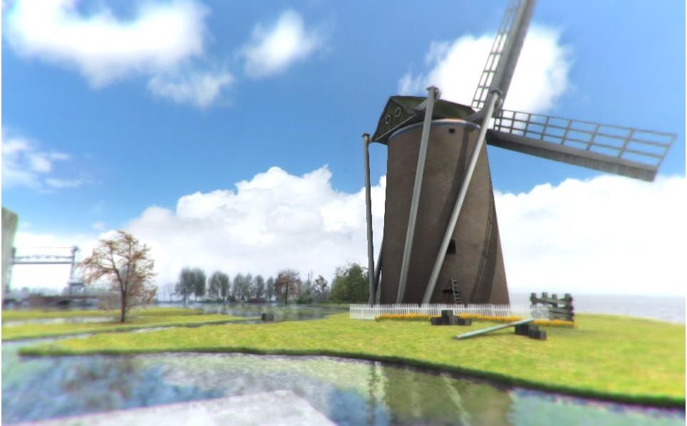 Holland Windmills Scene