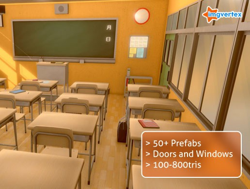 Anime Style Classroom Prop Pack