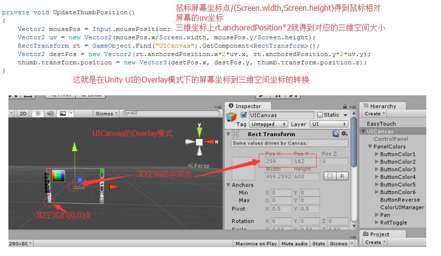 Overlay模式下的屏幕坐标到三维坐标转换