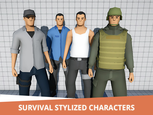 Survival stylized characters + 5 Weapons