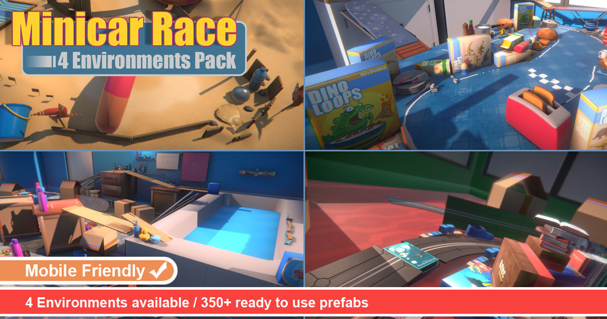 Minicar Race 4 Environments Pack