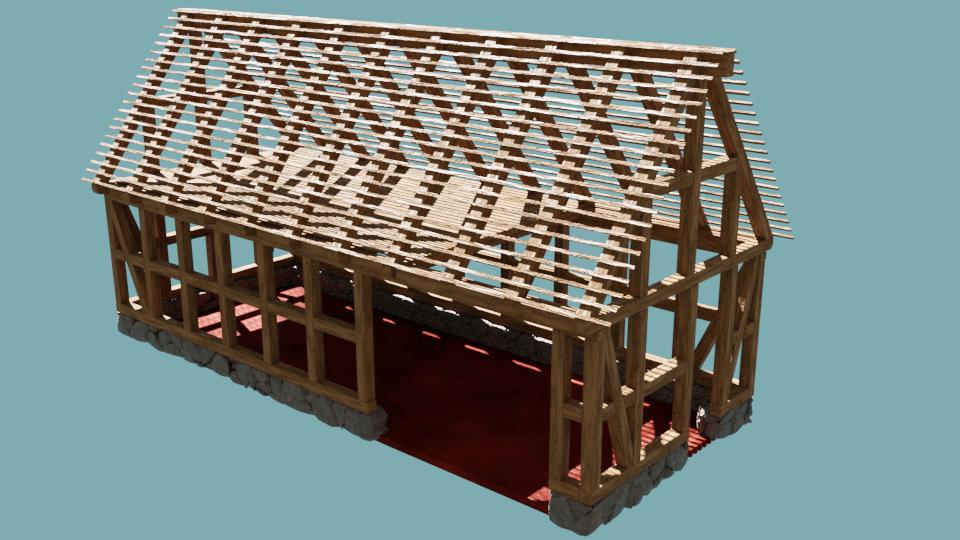 medieval half-timbered barn