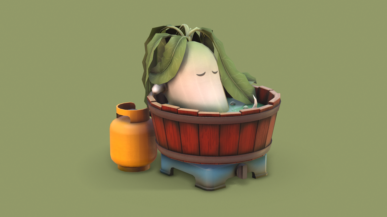 Radish in a Bathtub - Modeling and Texturing with Maya and Photoshop - Time Lapse