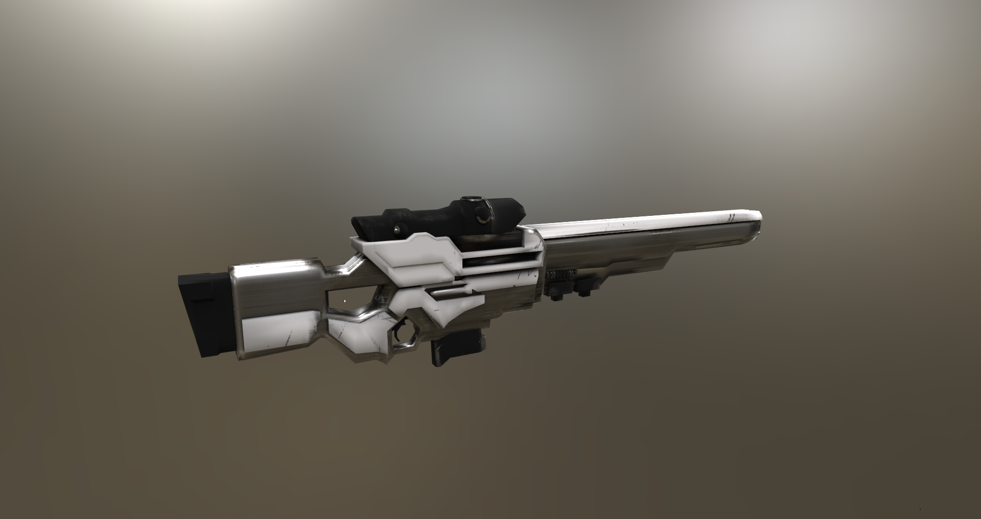 futuristic sniper low poly