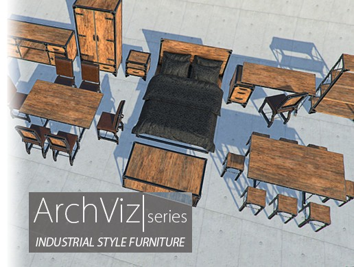 Industrial Style Furniture | ArchViz Series