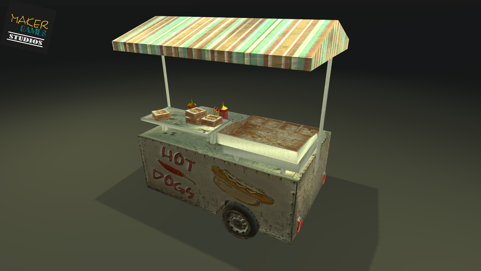 Low Poly PBR-Realistic Food Cart