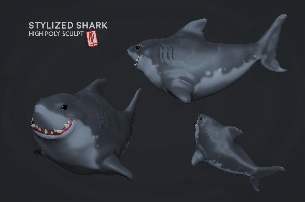 High Poly . Stylized Shark Sculpt