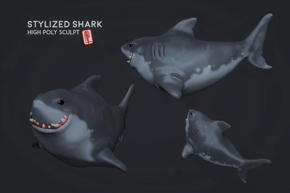 High Poly . Stylized Shark Sculpt