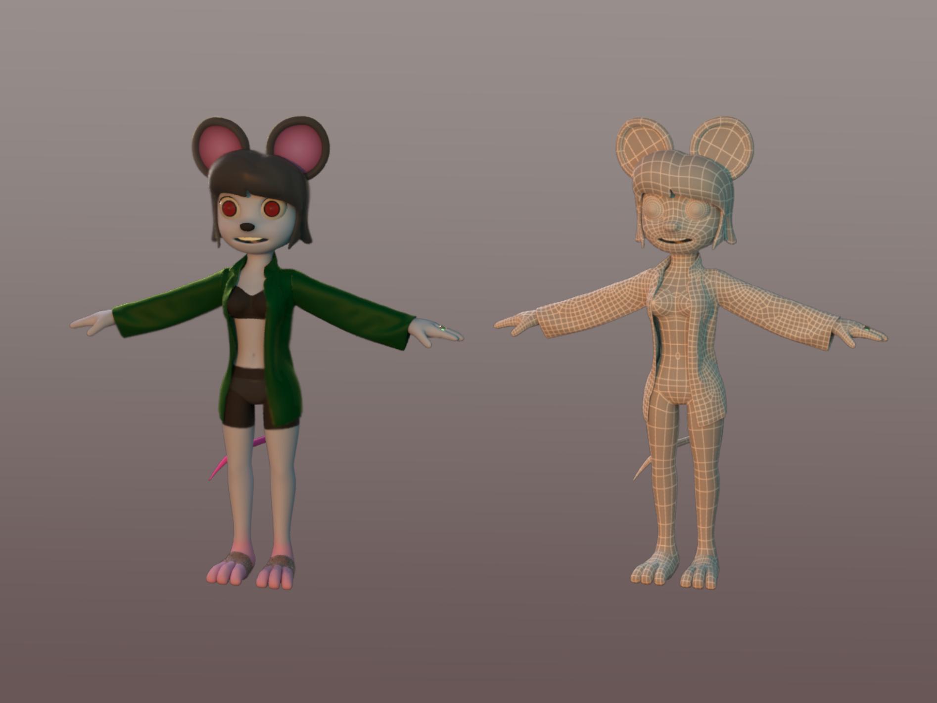 Cartoon rat girl model