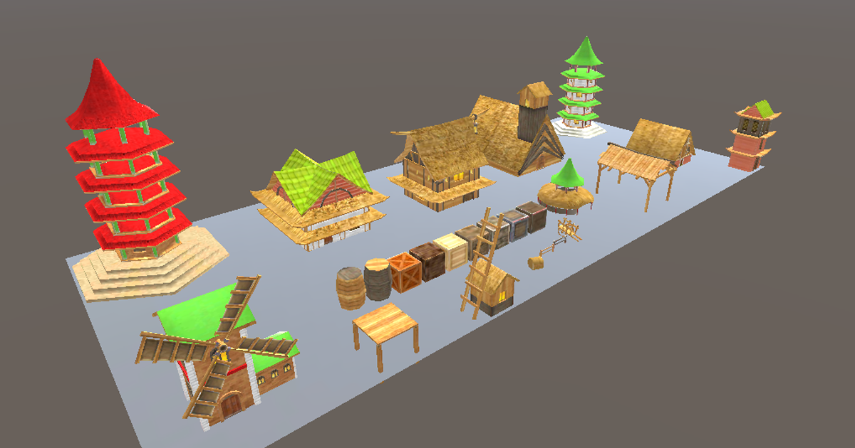 3D Models Village Environments Pack