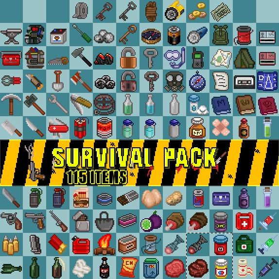 Survival items pack Pixel art