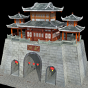 Ancient Oriental gate city wall building