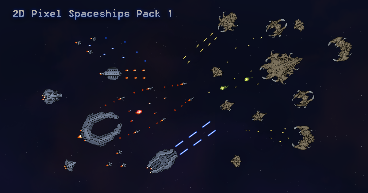 2D Pixel Spaceships Pack 1