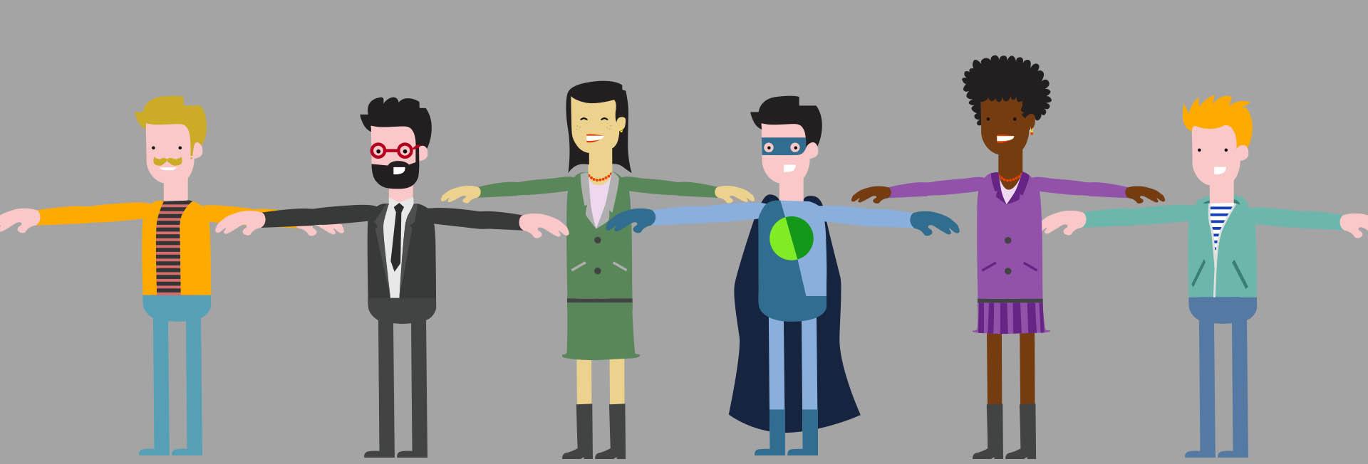 Characters concept flat design