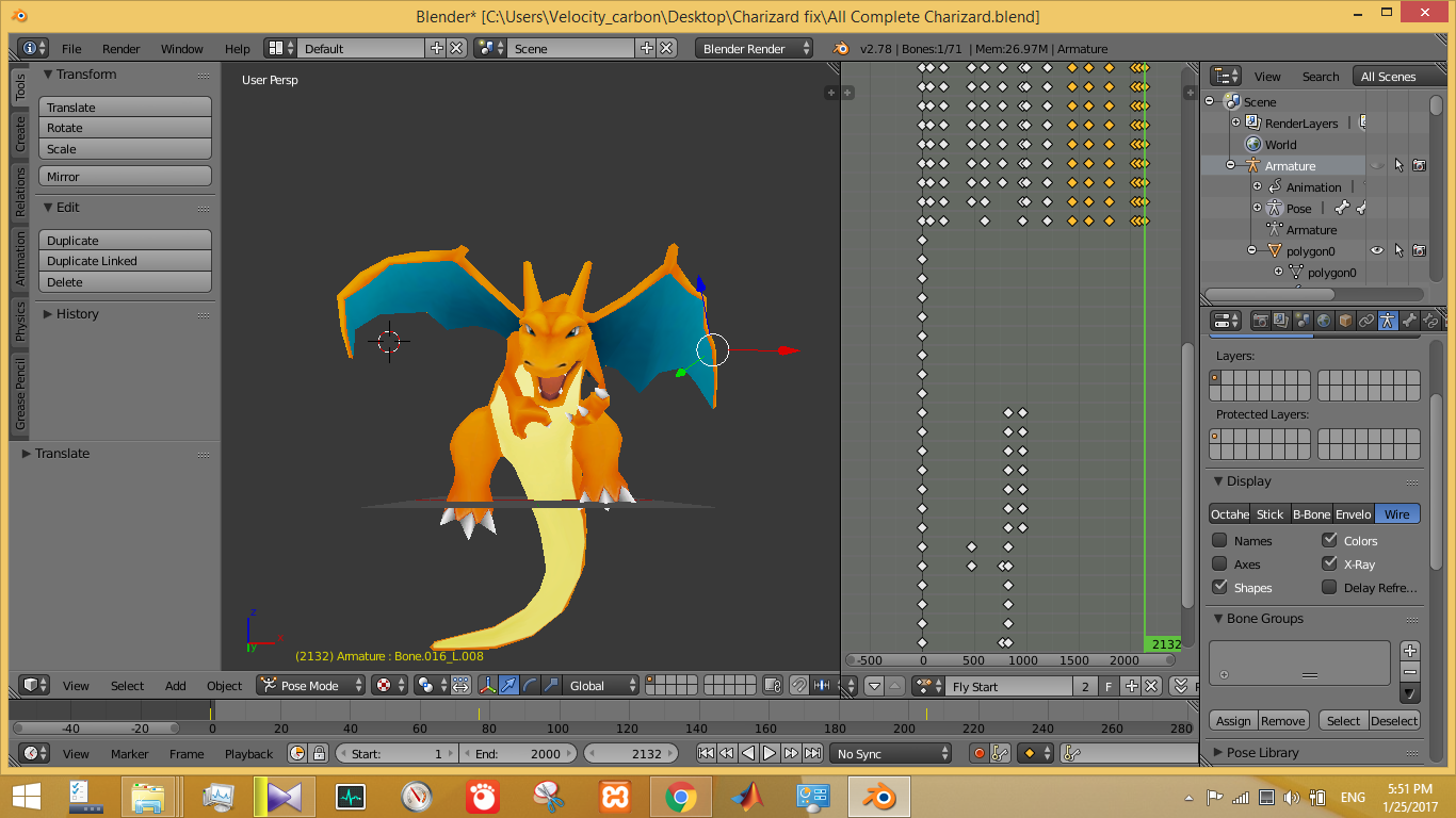 Rigging and Animate Charizard