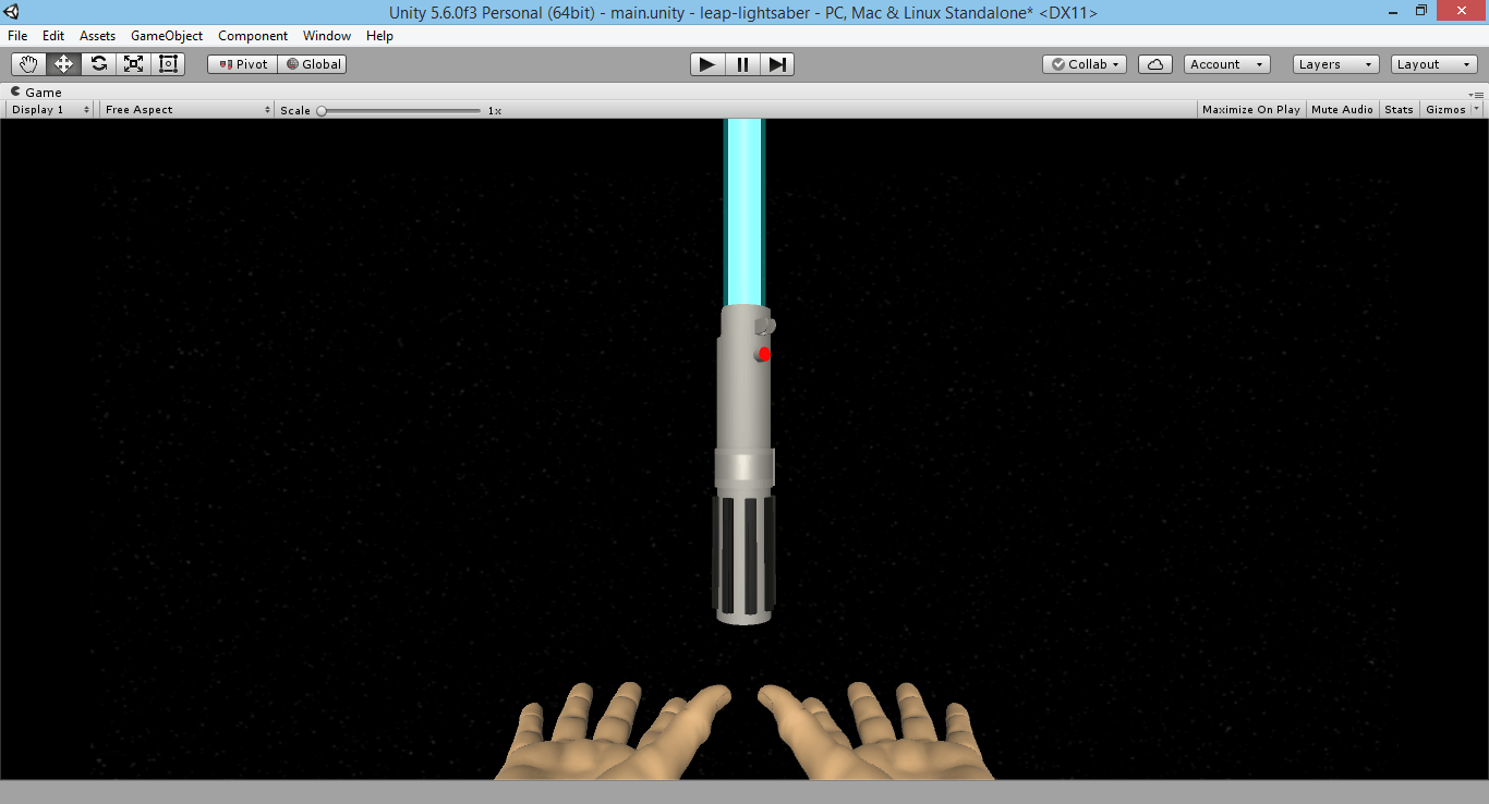 Star Wars Lightsaber with Unity and Leap Motion