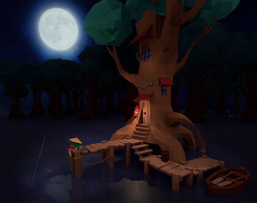 Low poly fisherman tree house