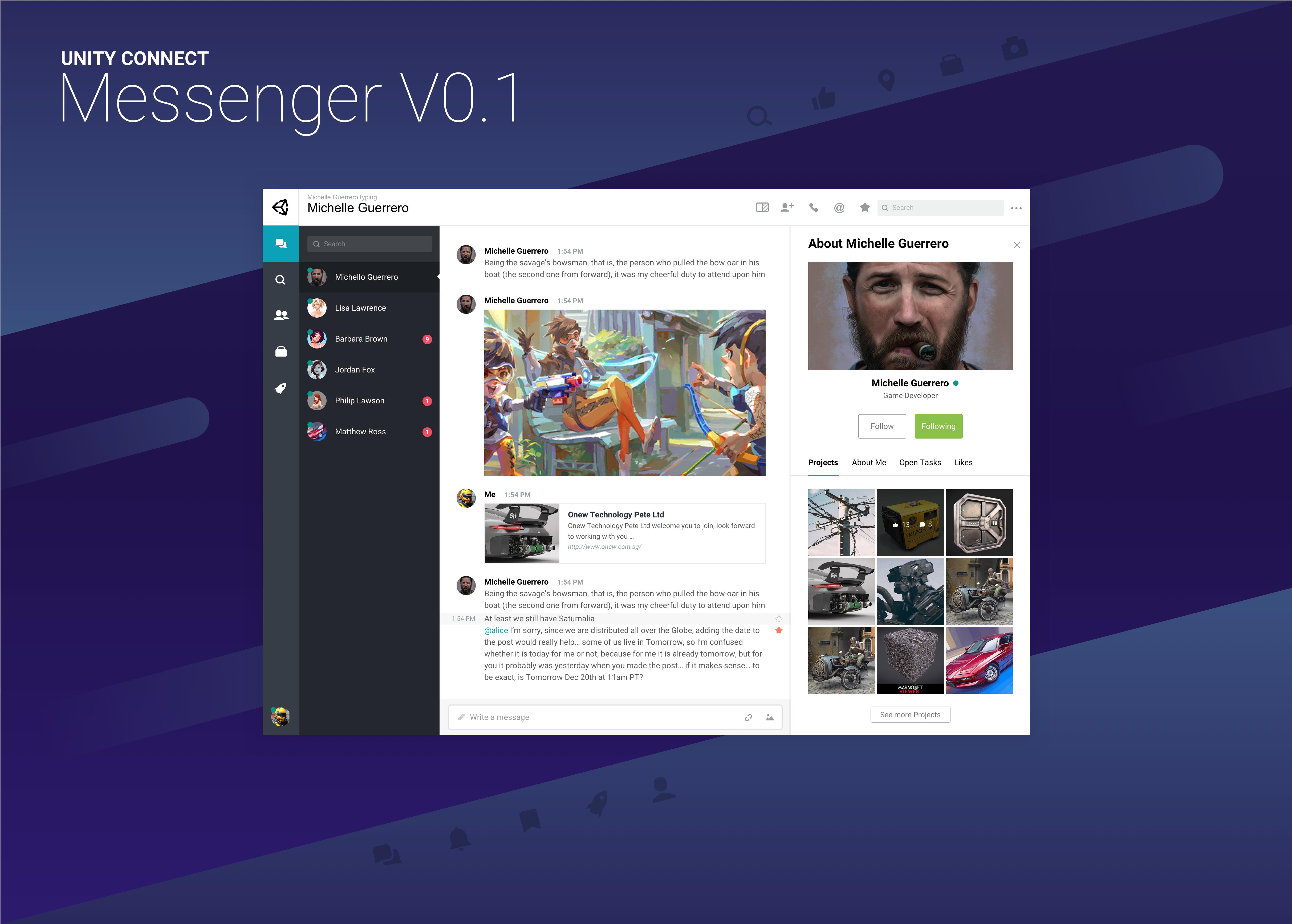 Unity Connect messenger concept