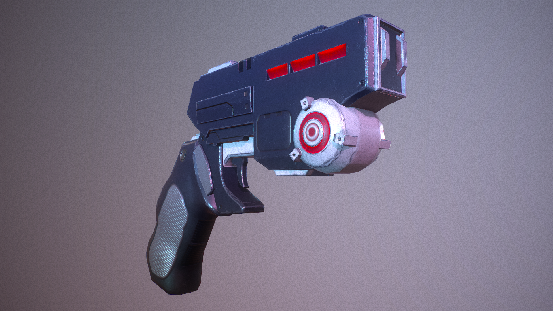 Low poly sci fi weapons, props