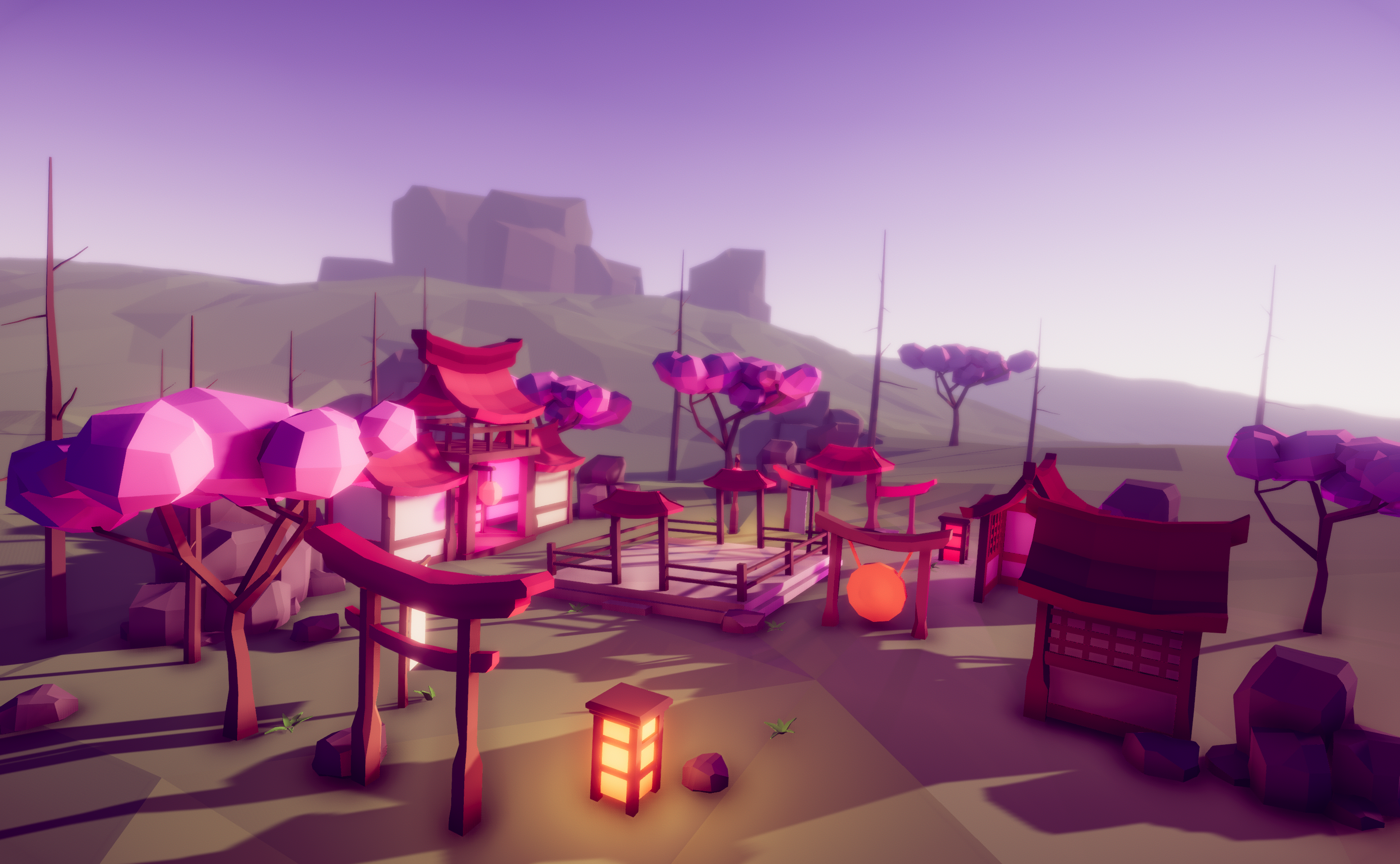 Asian village - LowPoly