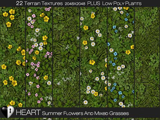 HEART Summer Flowers and Mixed Grasses