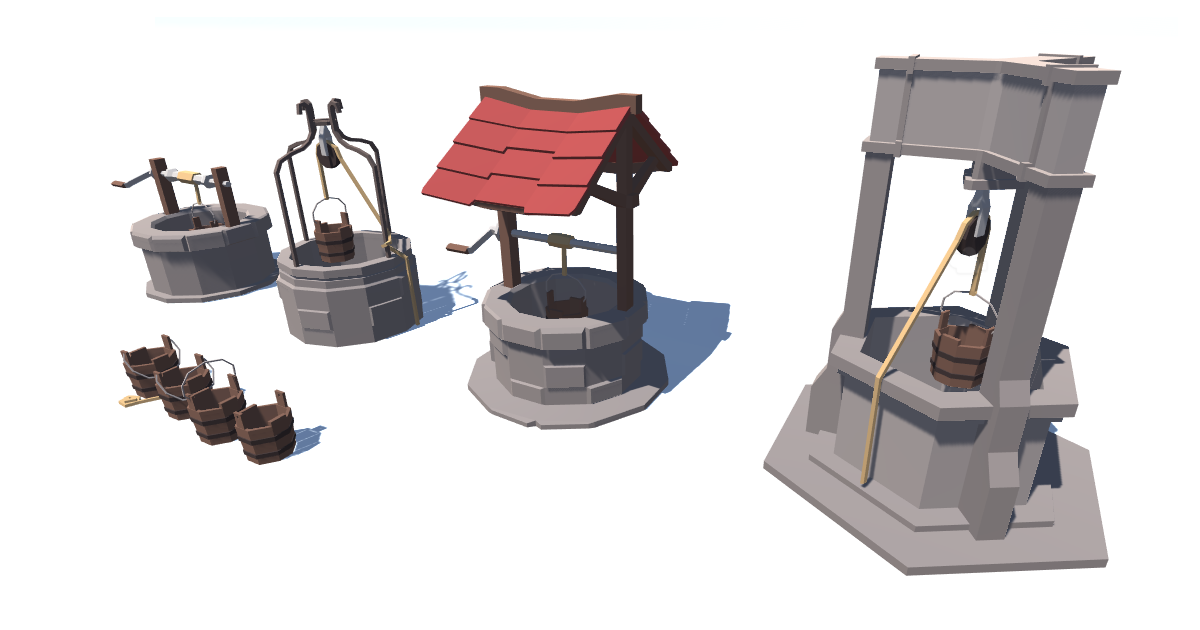 Low poly rustic well pack