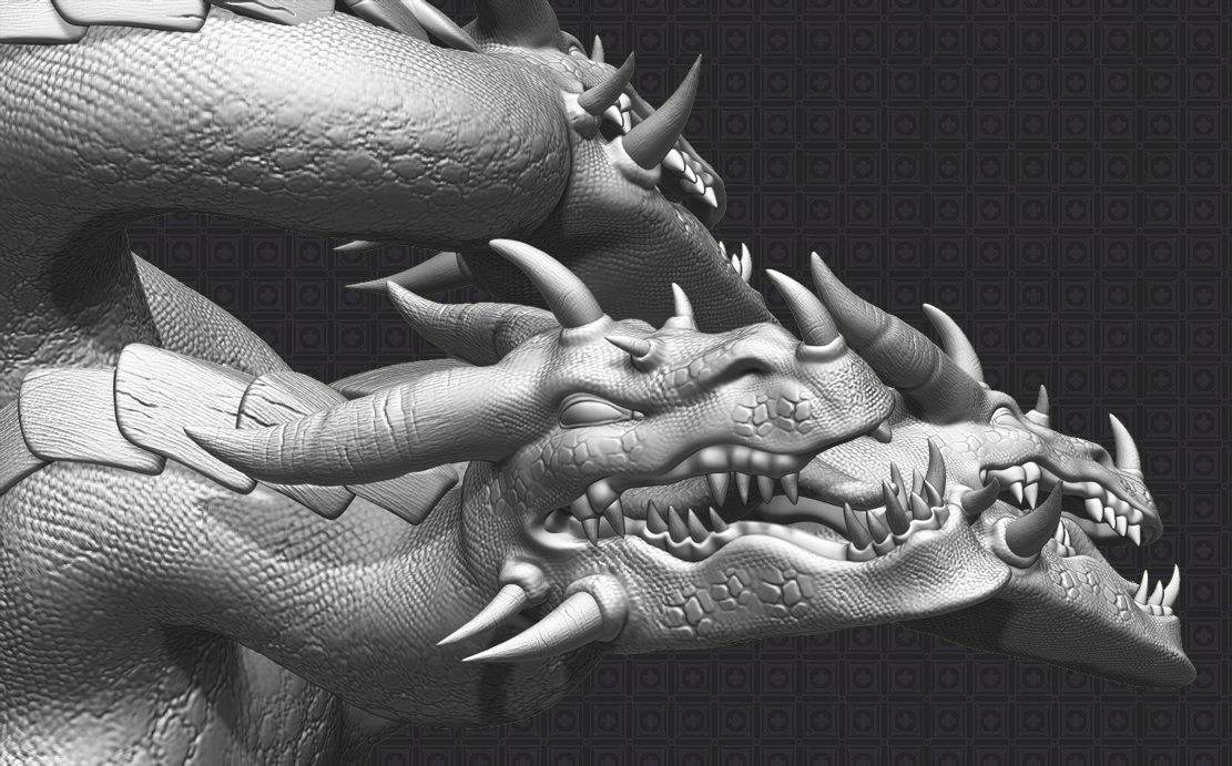 5 Multi headed Dragon 3D Art Piece