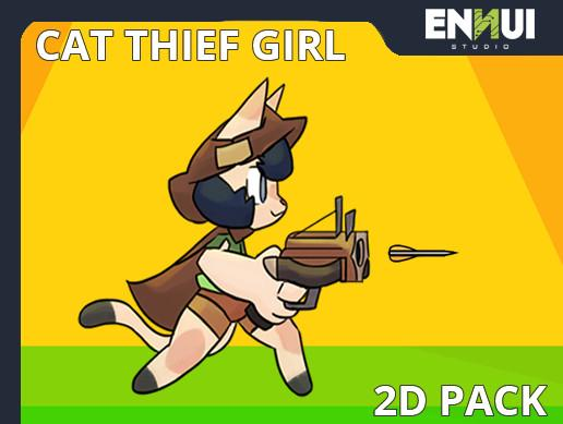 Cat Thief Girl 2D Character