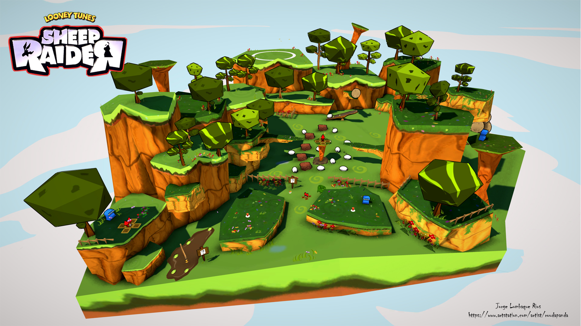 Cartoon Style Sheep Raider Environment