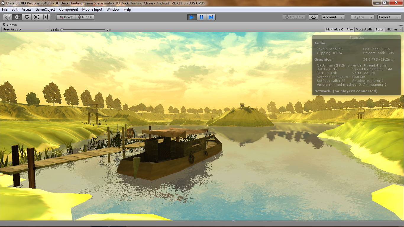 3D Duck Hunting Mobile Game Environment