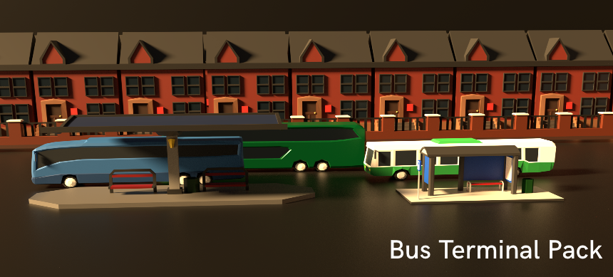 Low Poly Bus Station pack