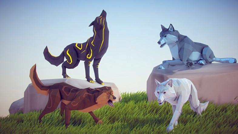 Poly Art: Wolf