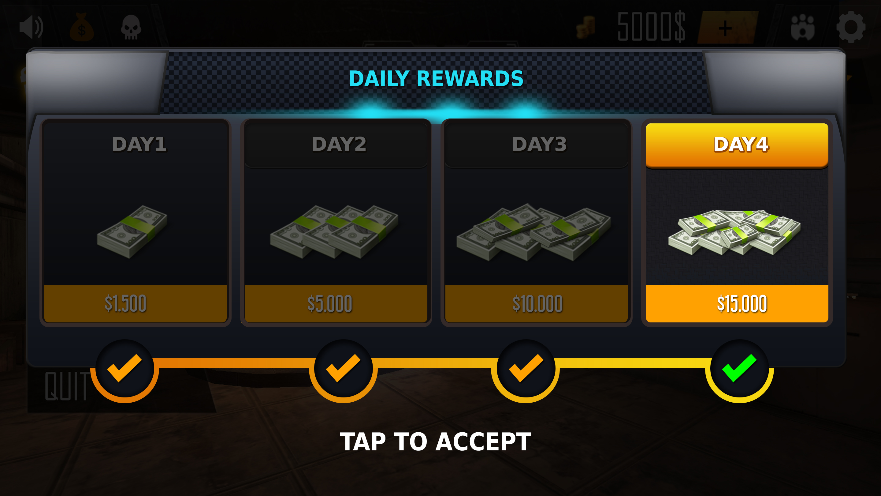 Mobile game UI (Daily Rewards)