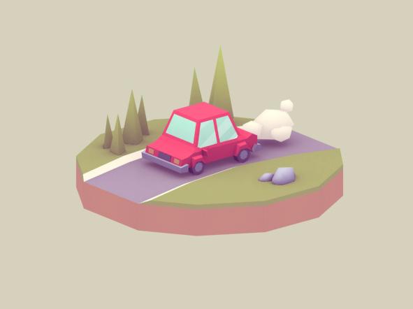 Lowpoly car diorama