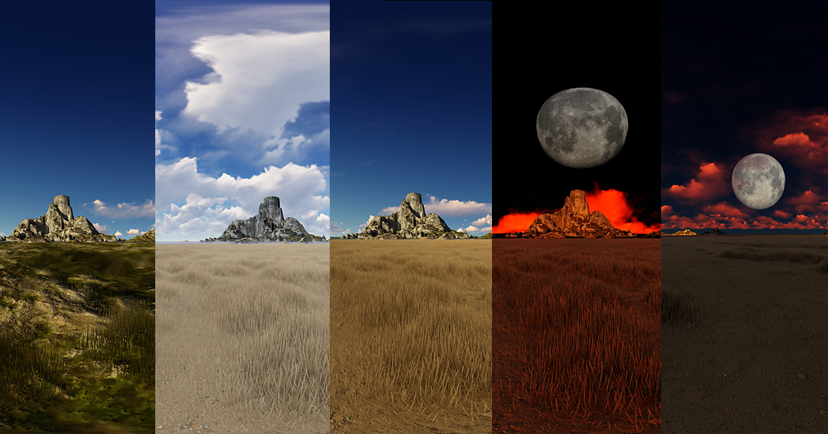 Desertic island skyboxes pack