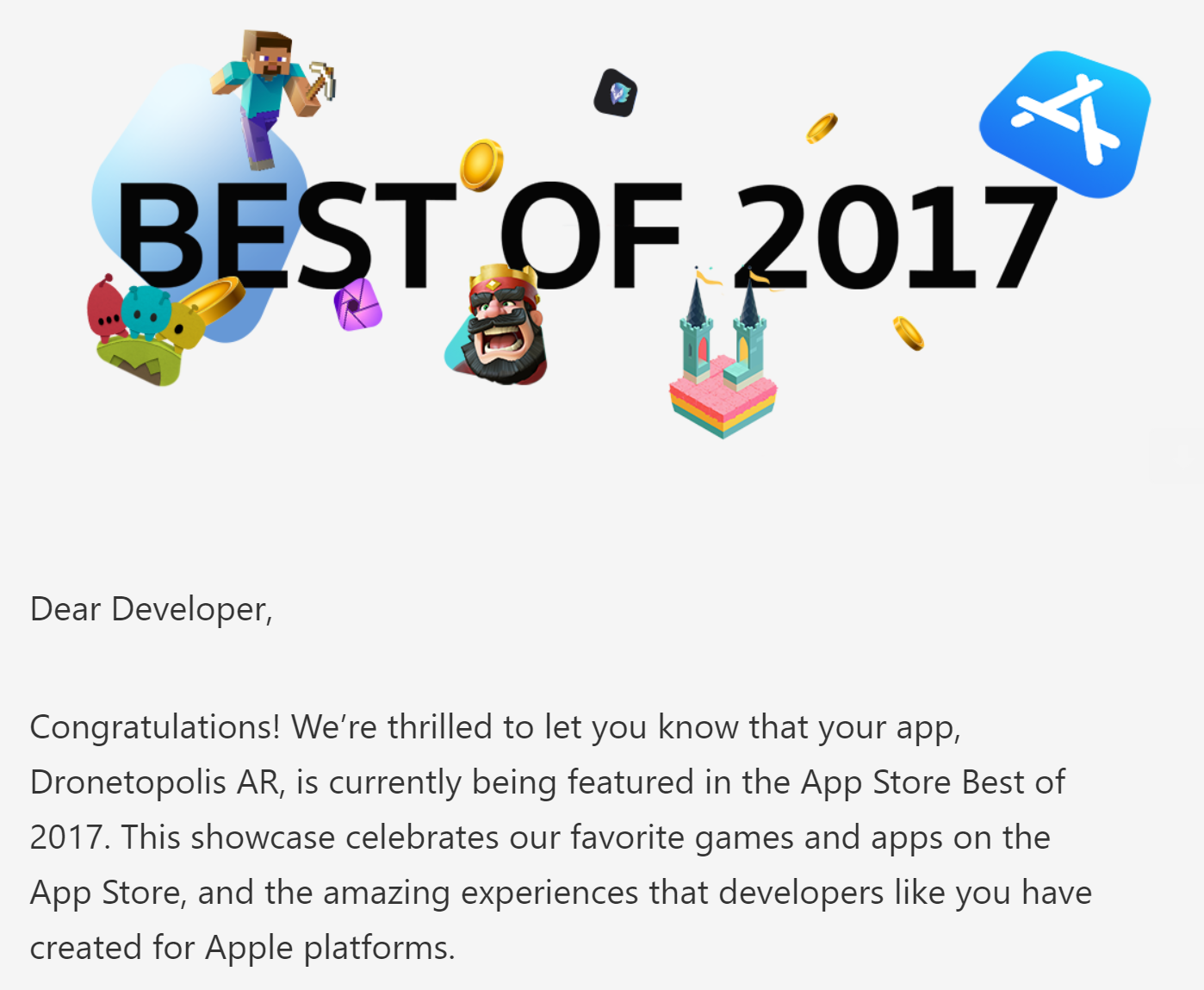 DroneTopolis AR  among Apple's Best of 2017