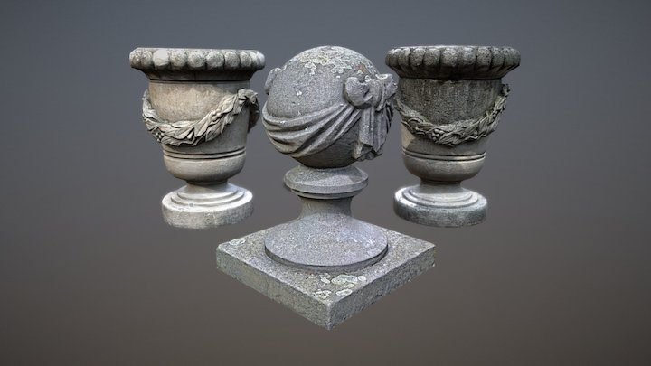 Photorealistic stone vases and a ball on a pillar